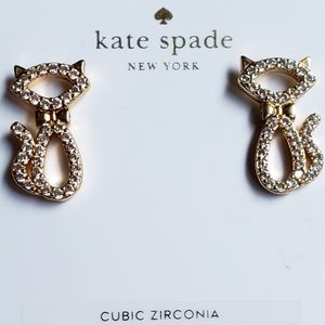 NWT kate spade earrings, jewelry, cats, sparkly